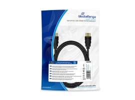 Καλώδιο MediaRange HDMI High Speed with Ethernet connection, gold-plated contacts, 2m black (MRCS196)