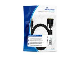 Καλώδιο MediaRange HDMI to DVI connection, gold-plated, with ferrite core, HDMI plug /DVI-D plug (24+1 Pin), 2m black (MRCS132)