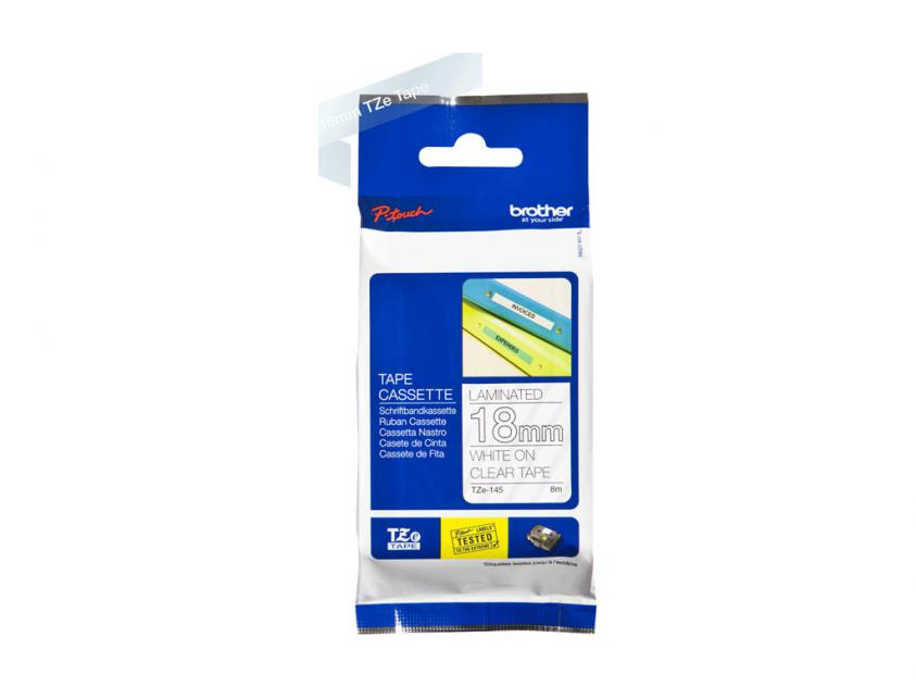 Brother 18mm White On Clear Tape (TZE145)
