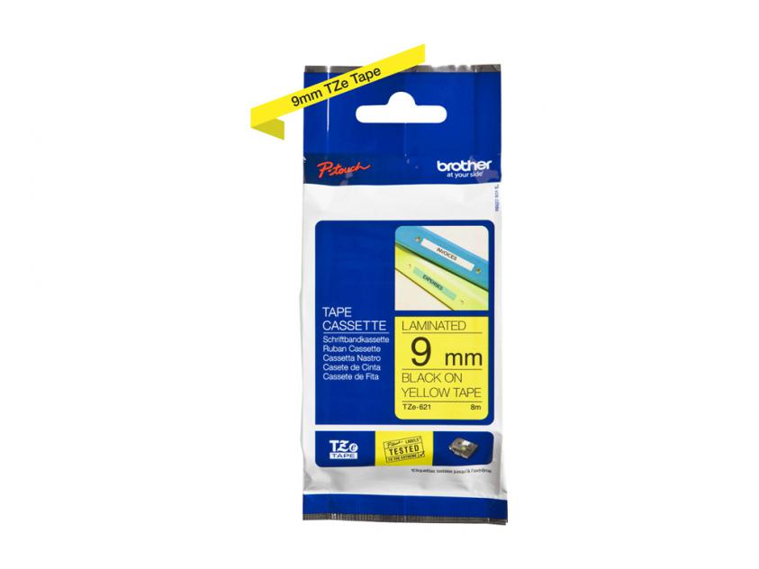 Brother 9mm Black On Yellow Tape (TZE621)