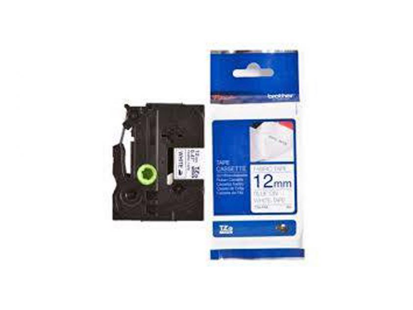 Brother 12mm Blue On White Fabric Tape (TZEFA3)