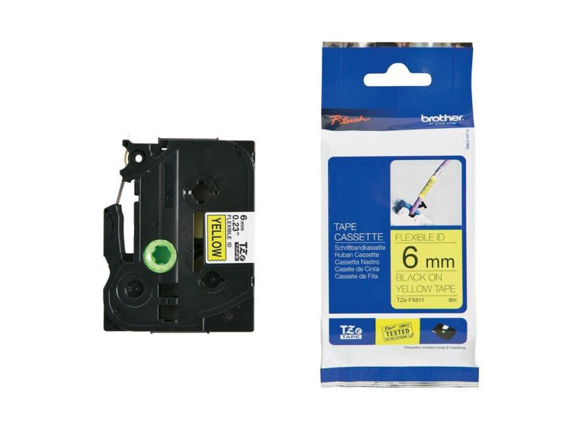 Brother 6mm Black On Yellow Flexible ID Tape (TZEFX611)