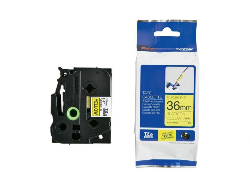 Brother 36mm Black On Yellow Flexible ID Tape (TZEFX661)
