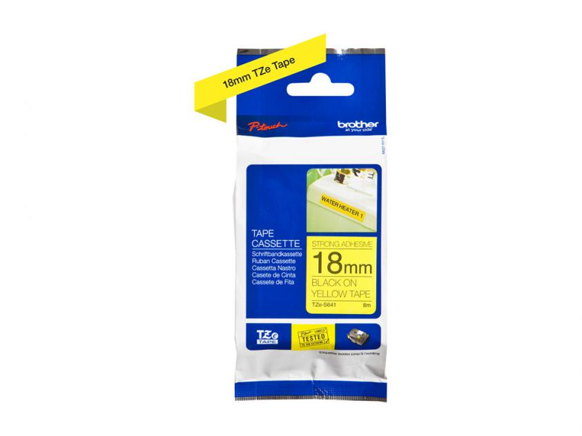 Brother 18mm Black On Yellow Strong Adhesive Tape (TZES641)
