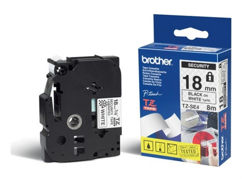 Brother 18mm Black On White Security Tape (TZESE4)
