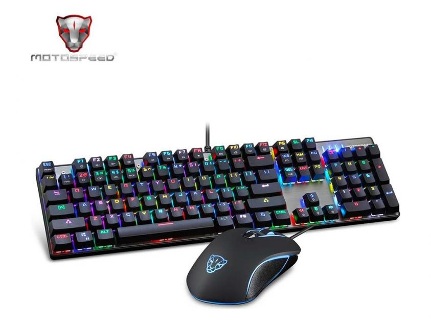 Gaming Bundle Motospeed CK888 Wired Mechanical Keyboard Mouse Combo Red Switch RGB GR Layout (MT00137)