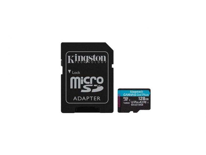 Κάρτα Μνήμης Kingston Canvas Go! Plus microSDXC Class 10 128GB + SD Adapter (SDCG3/128GB)