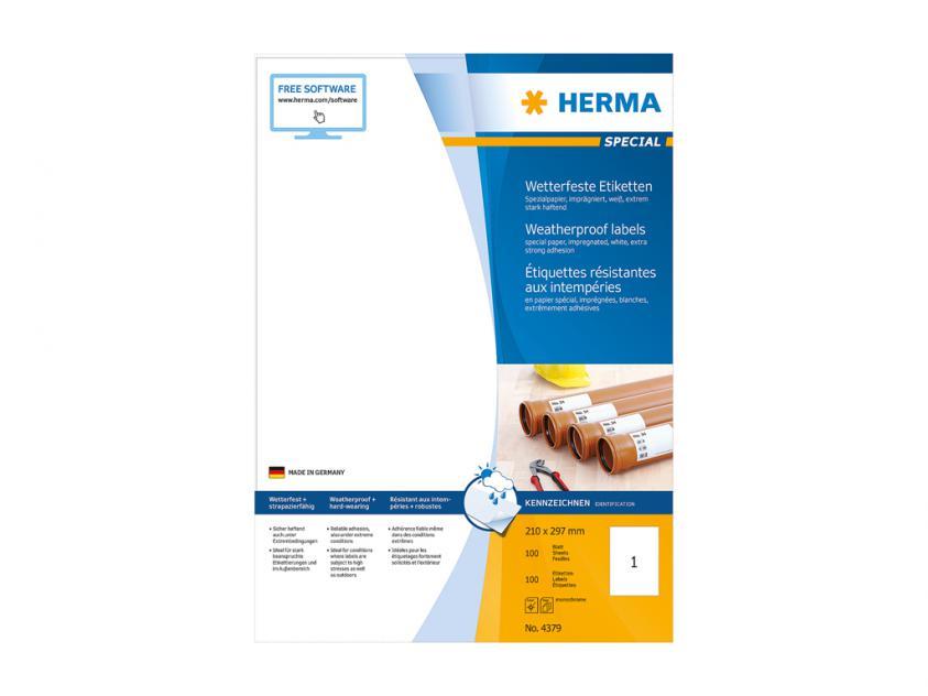 Αδιάβροχες Αυτοκόλλητες Ετικέτες Herma 210Χ297 100 sheets (4379)