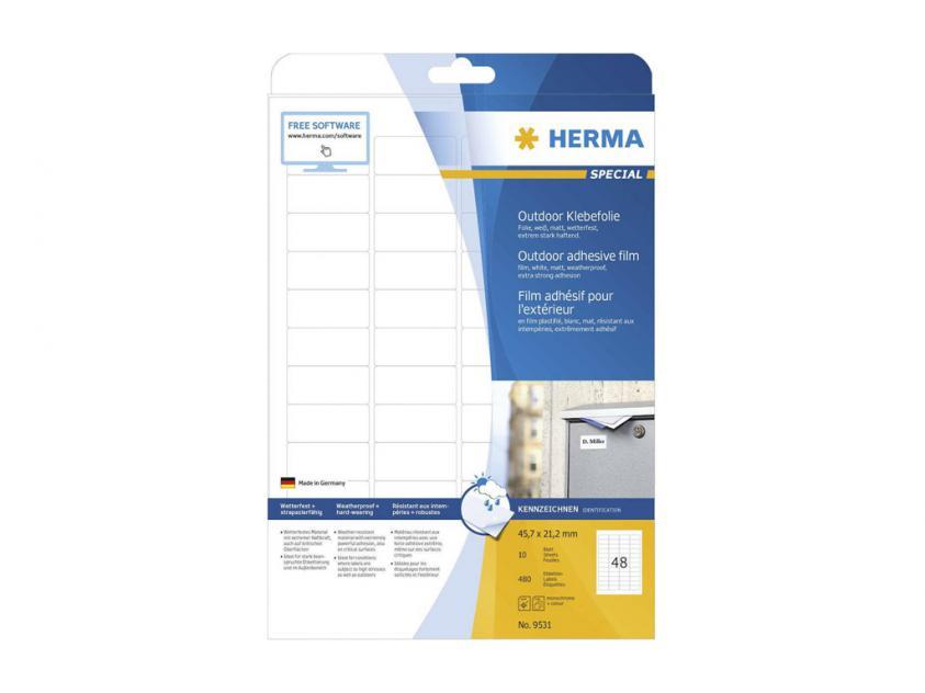 Αυτοκόλλητες Ετικέτες Herma Εξωτερικής Χρήσης Από Λευκό Πολυαιθυλένιο Φίλμ 45,7Χ21,2 480 sheets (9531)