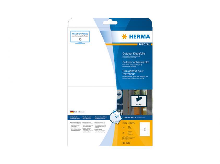 Αυτοκόλλητες Ετικέτες Herma Εξωτερικής Χρήσης Από Λευκό Πολυαιθυλένιο Φίλμ 210Χ148 20 sheets (9535)