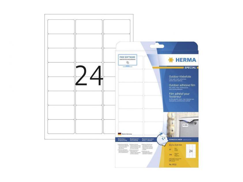 Αυτοκόλλητες Ετικέτες Herma Εξωτερικής Χρήσης Από Λευκό Πολυαιθυλένιο Φίλμ 63,5Χ33,9 240 sheets (9532)