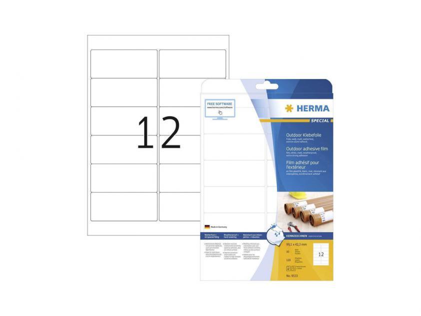 Αυτοκόλλητες Ετικέτες Herma Εξωτερικής Χρήσης Από Λευκό Πολυαιθυλένιο Φίλμ 99,1Χ42,3 120 sheets (9533)