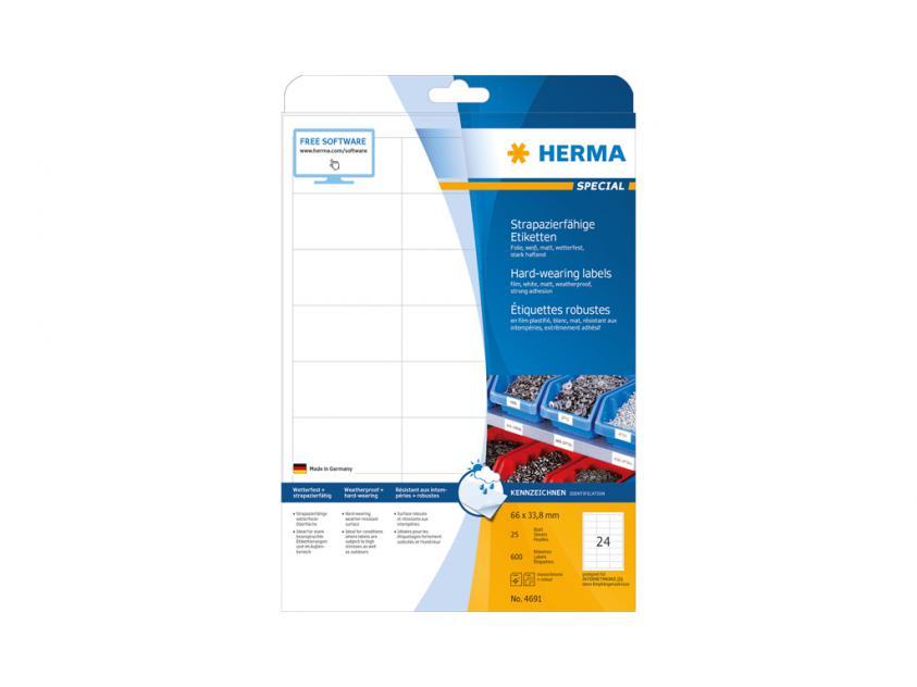 Αυτοκόλλητες Ετικέτες Herma Εσωτερικής & Εξωτερικής Χρήσης 66Χ33,8 25 sheets (4691)