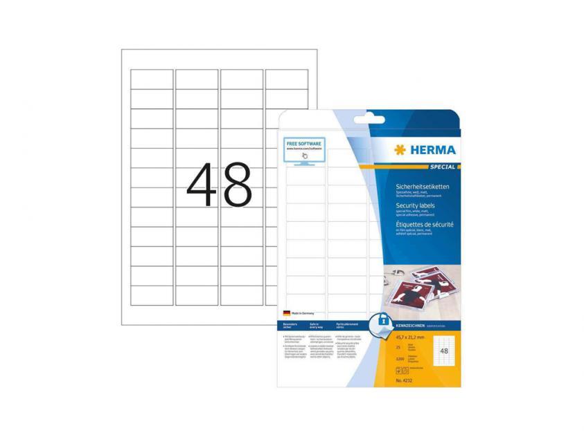 Αυτοκόλλητες Ετικέτες Ασφαλείας Herma 45,7Χ21,2 25 sheets (4232)
