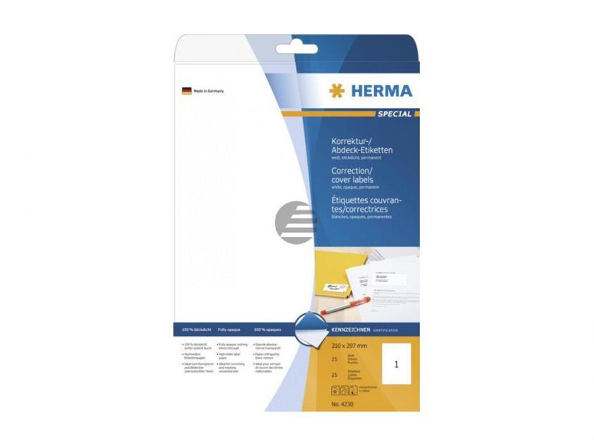 Αυτοκόλλητες Ετικέτες Διόρθωσης / Επικάλυψης Herma 210Χ297 25 sheets (4230)