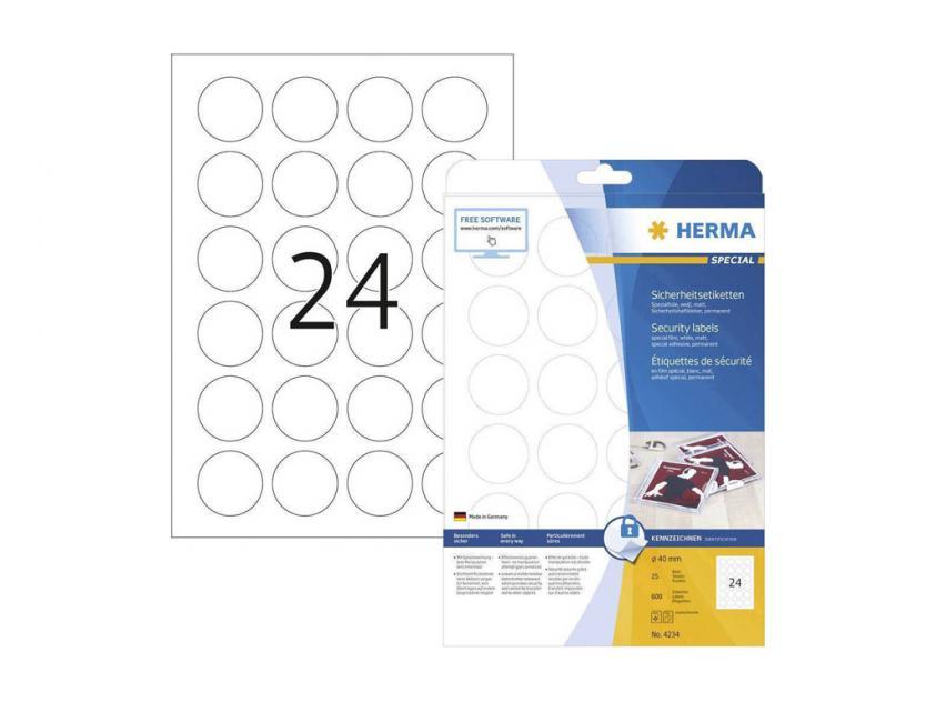 Αυτοκόλλητες Ετικέτες Ασφαλείας Herma Φ40 25 sheets (4234)