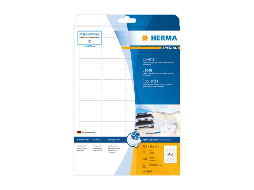 Αυτοκόλλητες Ετικέτες Herma Για InkJet Εκτυπωτές 45,7 x 21,2 25 sheets (8864)