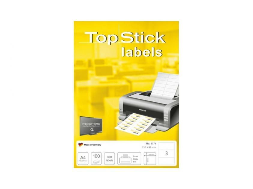 Αυτοκόλλητες Ετικέτες TopStick 210x99mm 100-Sheets (8771)