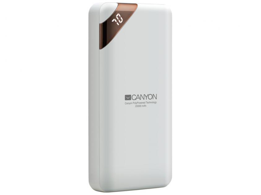 Power Bank Canyon Compact 20000mAh White  (CNE-CPBP20W)