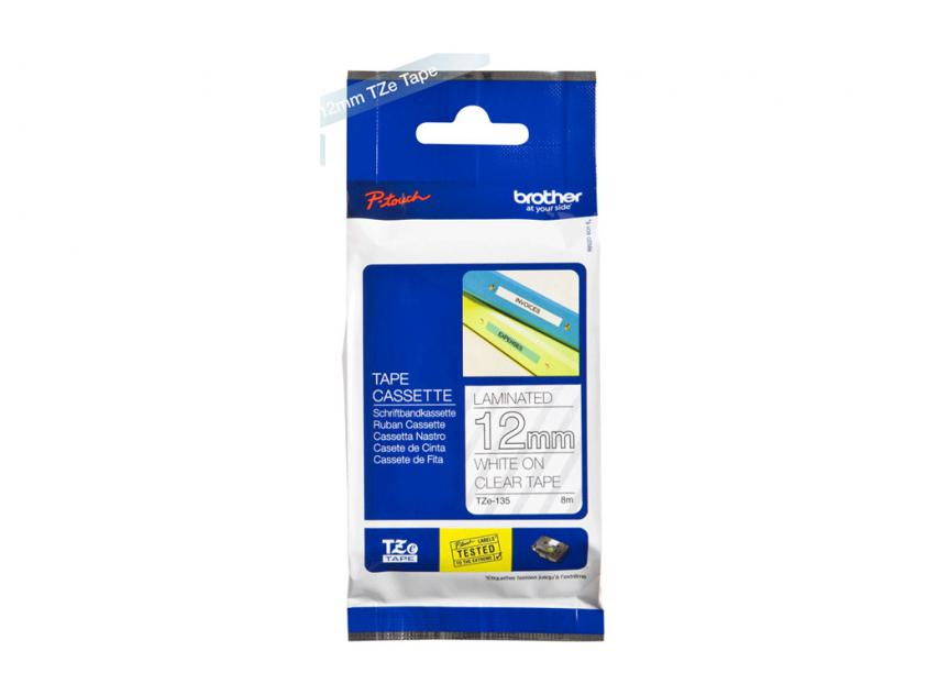 Brother 12mm White On Clear Tape (TZE135)