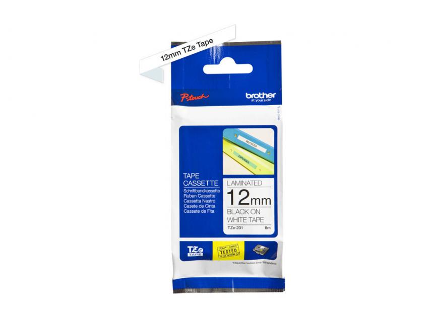 Brother 12mm Black On White Tape (TZE231)