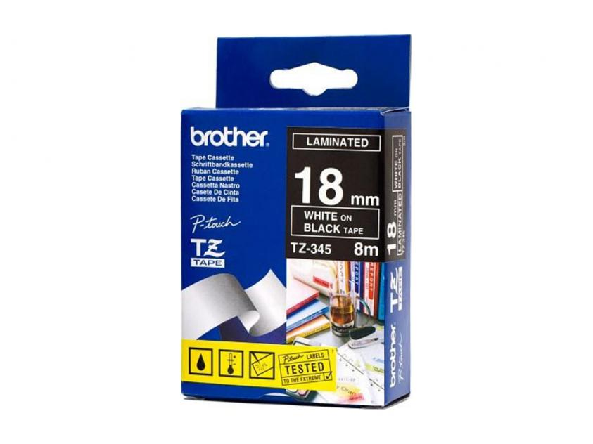 Brother 18mm White On Black Tape (TZE345)