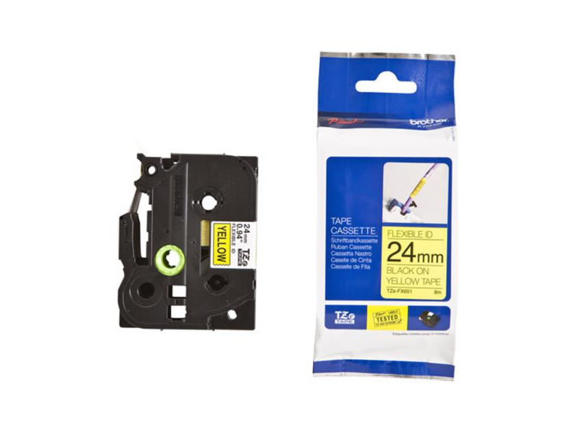 Brother 24mm Black On Yellow Flexible ID Tape (TZEFX651)