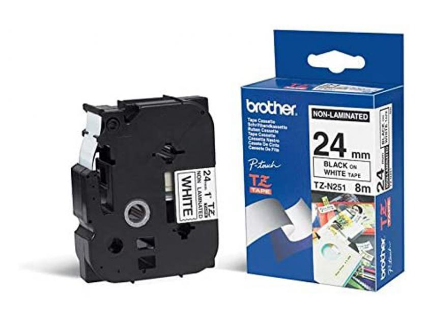 Brother 24mm Black On White Non-Laminated Tape (TZN251)