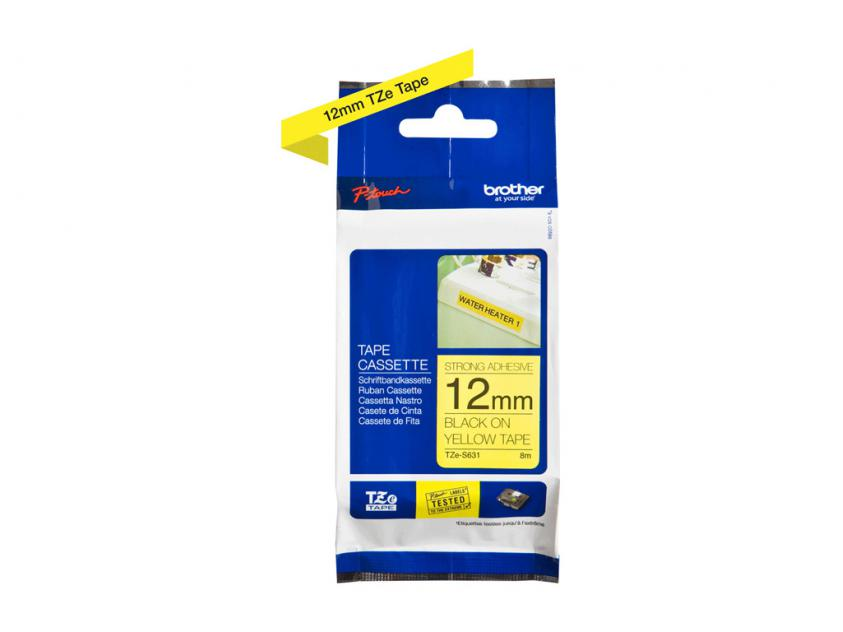 Brother 12mm Black On Yellow Strong Adhesive Tape (TZES631)