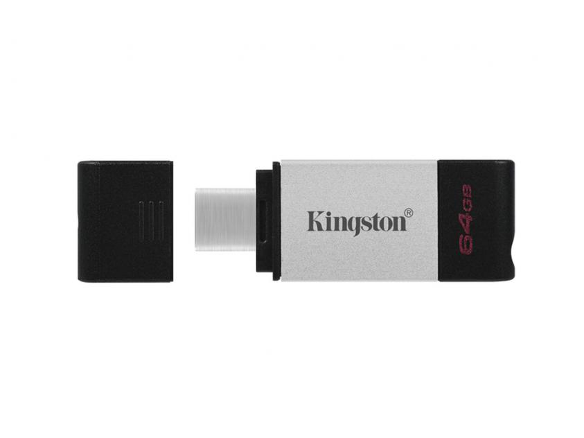 USB Flash Drive Kingston DataTraveler 80 64GB 3.2 Type-C Silver/Black (DT80/64GB)