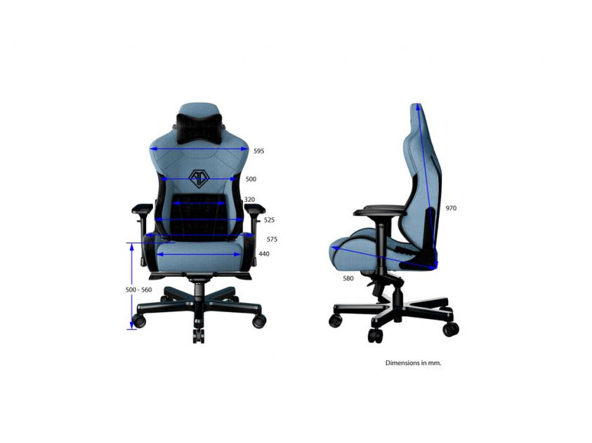Gaming Chair Anda T-Pro II Light Blue/Black (AD12XLLA-01-SB-F)
