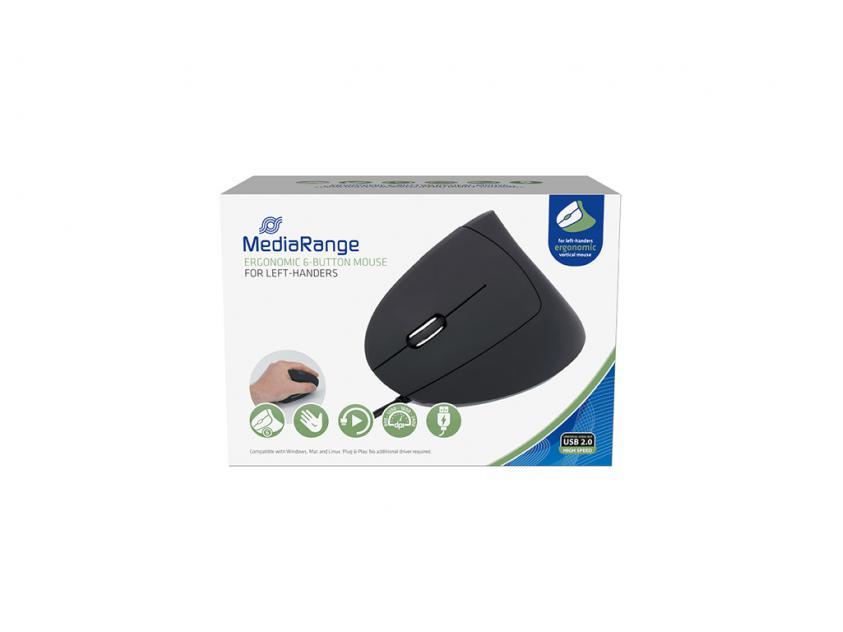Ποντίκι MediaRange Ergonomic 6-button Wired Optical for left-handers (MROS231)