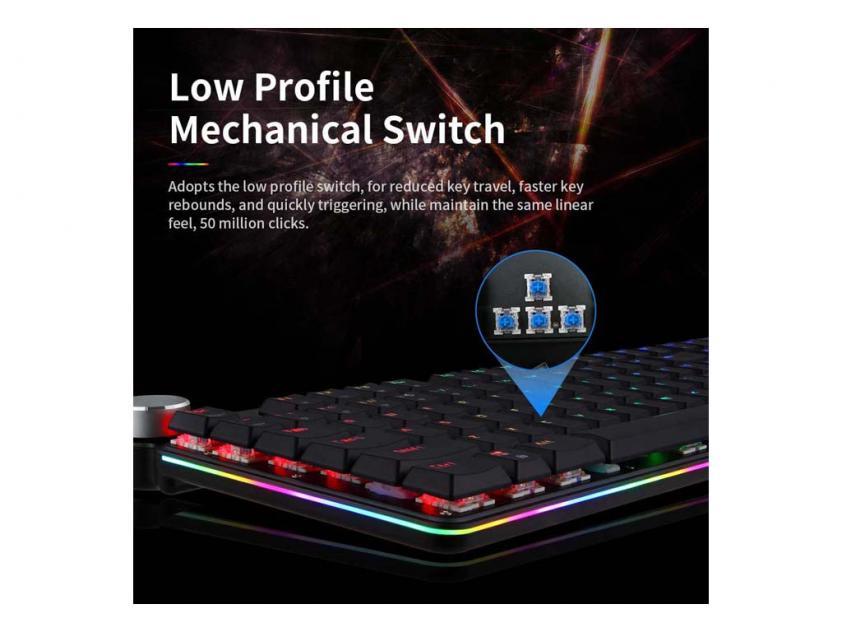 Gaming Mechanical Keyboard Motospeed GK81 Black Wireless Blue Switch GR Layout (MT00179)