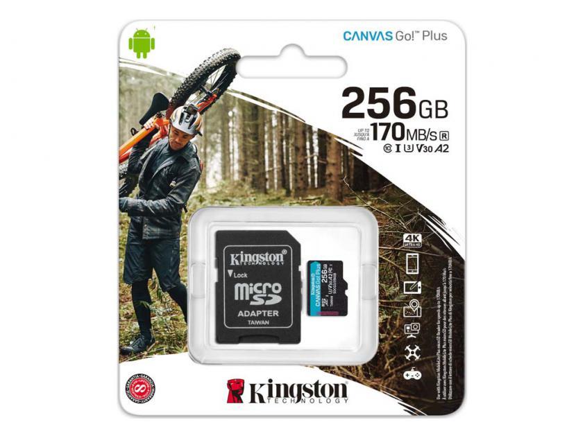 Κάρτα Μνήμης Memory Card Kingston Canvas Go! Plus microSDXC Class 10 256GB + SD Adapter (SDCG3/256GB)
