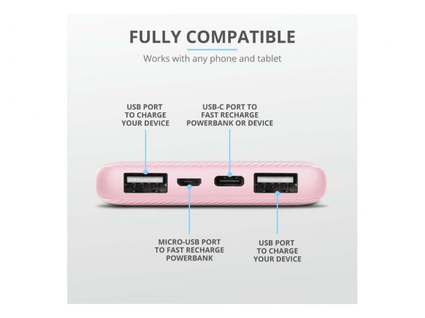 Powerbank Trust Primo 10000mAh Pink (23897)