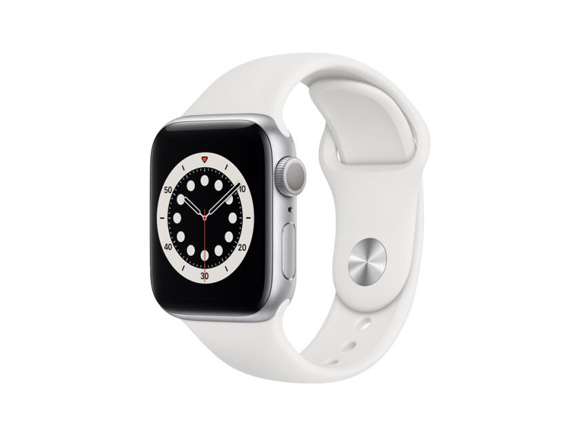 Apple Watch Series 6 Aluminium with White Sport Band 40mm Silver (MG283GK/A)