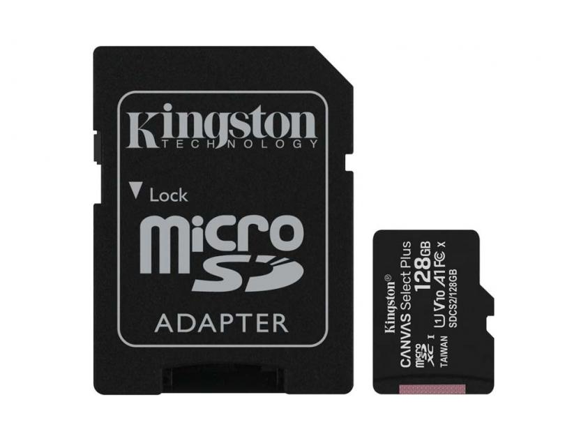 Κάρτα Μνήμης Kingston Canvas Select Plus microSDXC 128GB + SD Adapter (SDCS2/128GB)