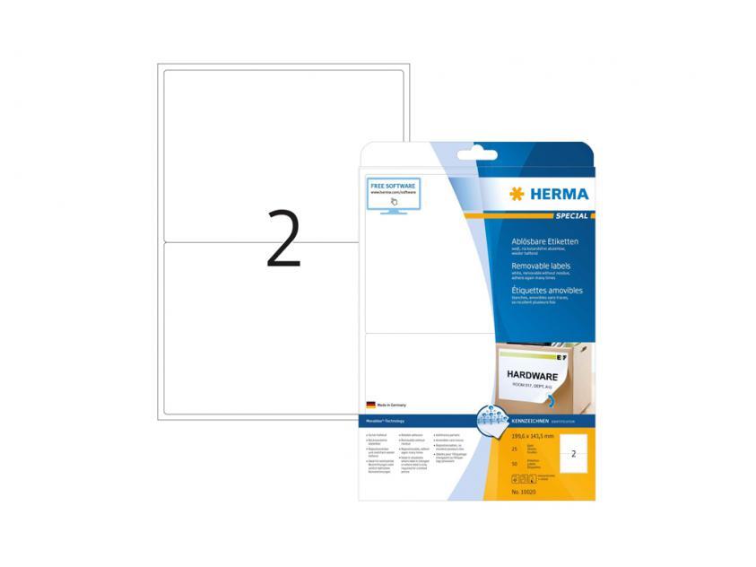 Αυτοκόλλητες Ετικέτες Herma A4 199,6 x 143,5 25 sheets (10020)