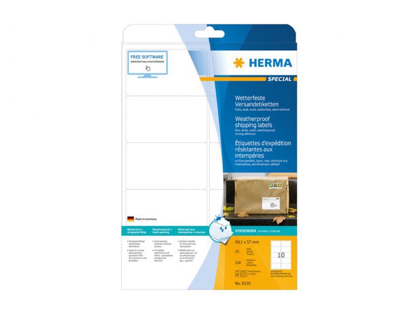 Αυτοκόλλητες Ετικέτες Herma Εσωτερικής & Εξωτερικής Χρήσης 99,1Χ57 25 sheets (8330)