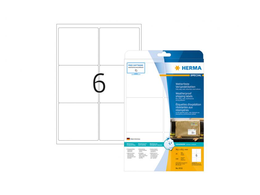 Αυτοκόλλητες Ετικέτες Herma Εσωτερικής & Εξωτερικής Χρήσης 99,1Χ93,1 25 sheets (8332)