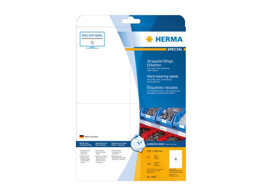 Αυτοκόλλητες Ετικέτες Herma Εσωτερικής & Εξωτερικής Χρήσης 105Χ148 25 sheets (4697)