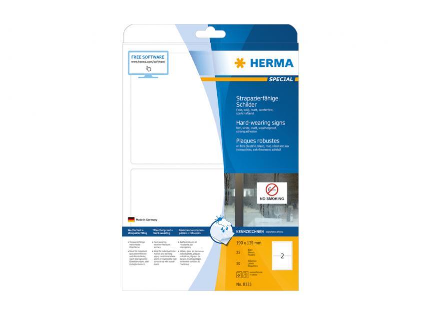 Αυτοκόλλητες Ετικέτες Herma Εσωτερικής & Εξωτερικής Χρήσης 190Χ135 25 sheets (8333)