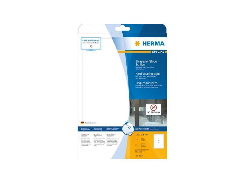 Αυτοκόλλητες Ετικέτες Herma Εσωτερικής & Εξωτερικής Χρήσης 190Χ275 25 sheets (8334)