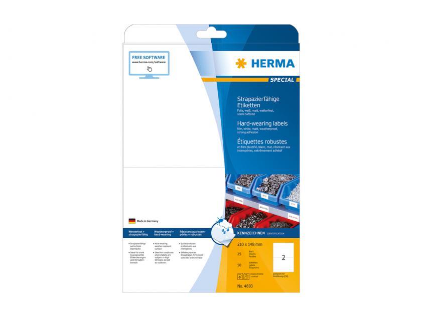 Αυτοκόλλητες Ετικέτες Herma Εσωτερικής & Εξωτερικής Χρήσης 210Χ148 25 sheets (4693)