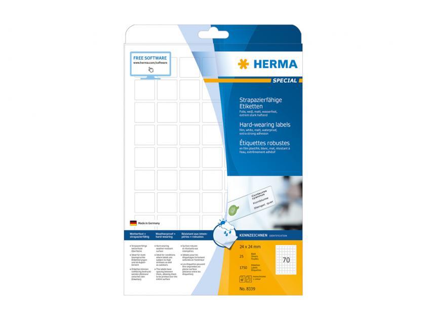 Αυτοκόλλητες Ετικέτες Herma Εσωτερικής & Εξωτερικής Χρήσης 24Χ24 25 sheets (8339)