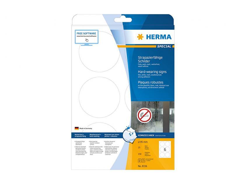 Αυτοκόλλητες Ετικέτες Herma Εσωτερικής & Εξωτερικής Χρήσης Φ85 25 sheets (8336)
