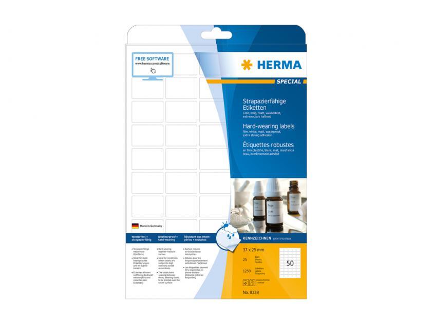 Αυτοκόλλητες Ετικέτες Herma Εσωτερικής & Εξωτερικής Χρήσης 37Χ25 25 sheets (8338)