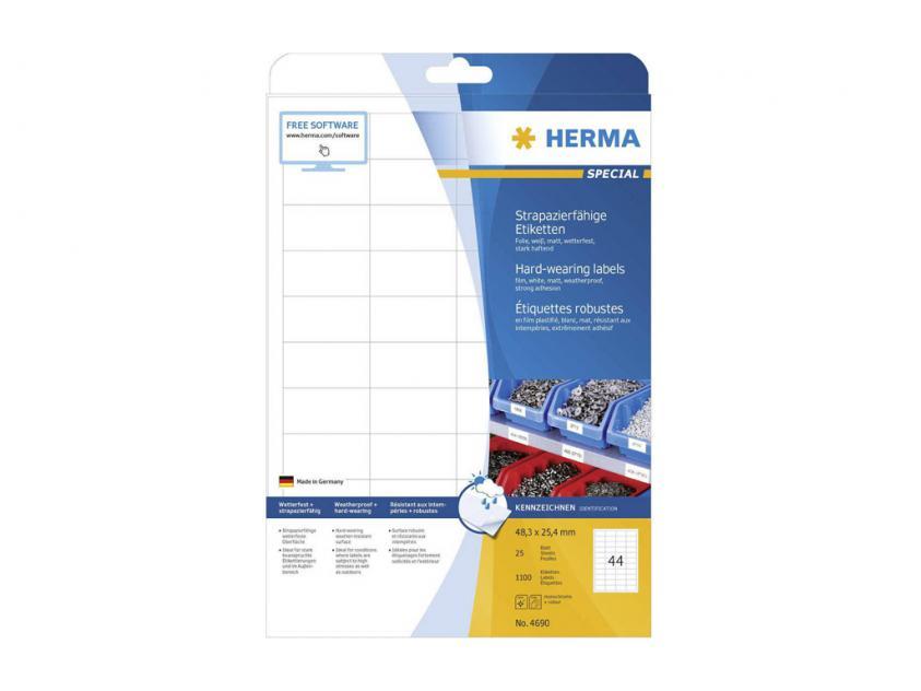 Αυτοκόλλητες Ετικέτες Herma Εσωτερικής & Εξωτερικής Χρήσης 48,3Χ25,4 25 sheets (4690)