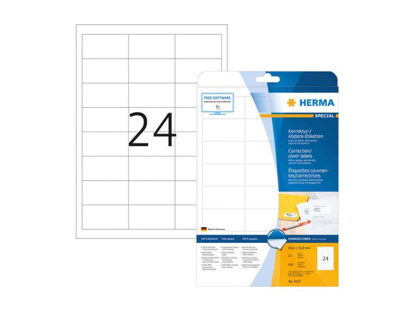 Αυτοκόλλητες Ετικέτες Διόρθωσης / Επικάλυψης Herma 64,6Χ33,8 25 sheets (4227)