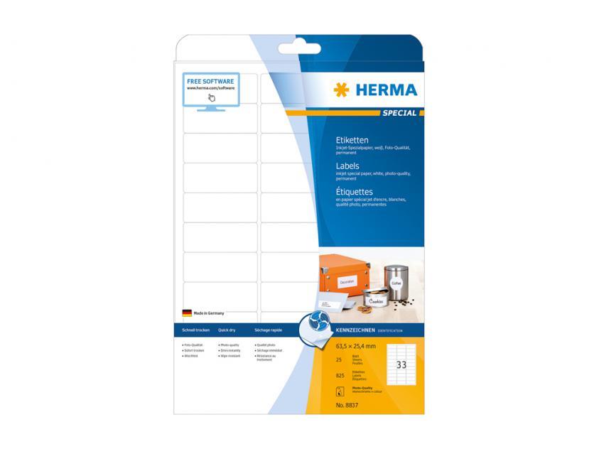 Αυτοκόλλητες Ετικέτες Herma Για InkJet Εκτυπωτές 63,5 x 25,4 25 sheets (8837)